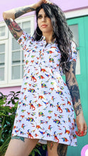Load image into Gallery viewer, Rainbow Dino Skater Dress
