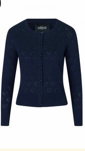 Leah Heart Cardigan Navy