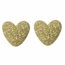 Load image into Gallery viewer, Kay Gold Glitter Heart Studs