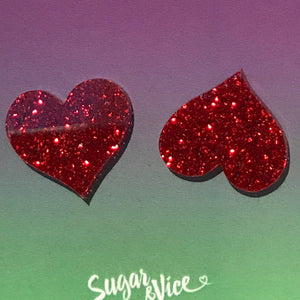 Sugar & Vice Glitter Heart Studs Red