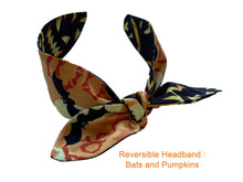 Load image into Gallery viewer, Reversible Headband Bats & Pumpkins