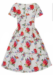 Eloise Dress Blossoming Poppy On Peach