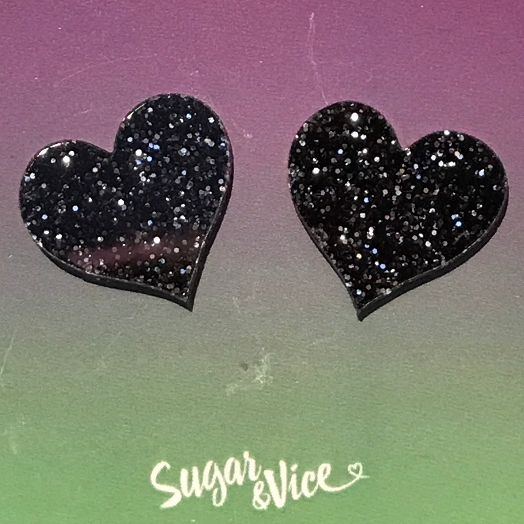 Sugar & Vice Glitter Heart Studs Black