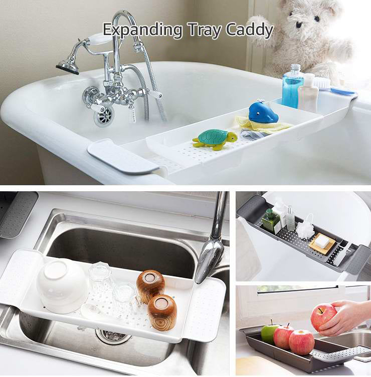 Genuine Multipurpose Plastic Adjustable Bathtub Tray Basket Bath Kitchen Accessories - Bumluv