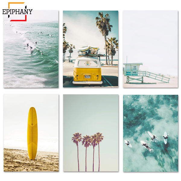 California Print Set Surf Wall Art Canvas - Bumluv