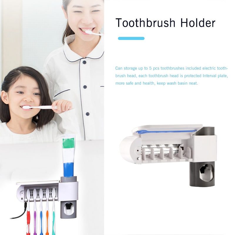 ABEDOE 2 In 1 UV Toothbrush Sterilizer Toothbrush Holder Automatic Toothpaste Squeezers Dispenser Home Bathroom Set - Bumluv