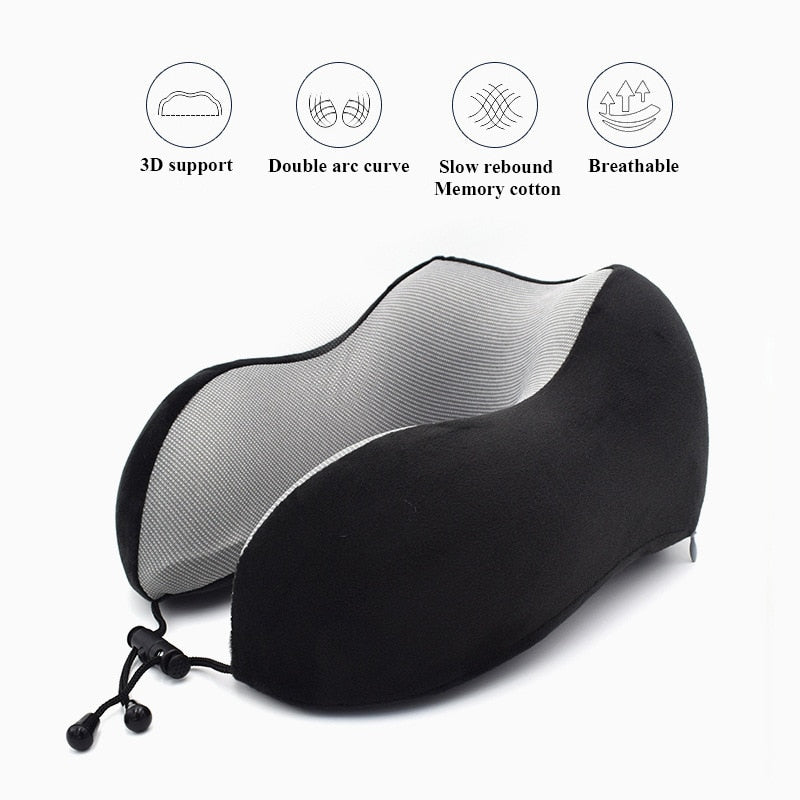 1PC U Shaped Memory Foam Neck Pillows Soft Slow Rebound Space Travel Pillow Solid Neck Cervical Healthcare Bedding Drop Shipping - Bumluv