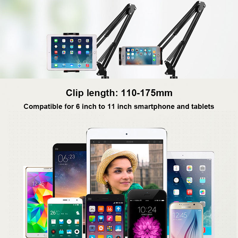 6 to 11inch Mobile phone Tablet Holder Stand For iPad Mini Air Samsung 360 Degree Long Arm Lazy Bed Desk Tablet Mount Support - Bumluv