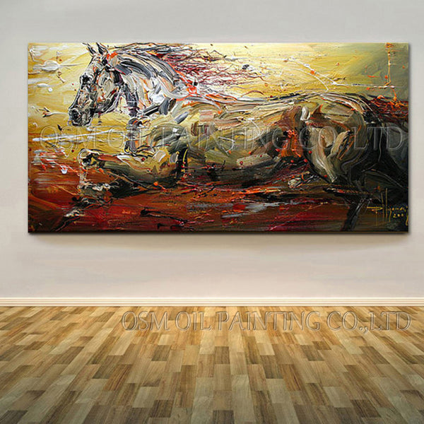 Handmade Abstract Running Horse Oil Painting - Bumluv