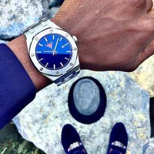 Vader  [ Radiant Blue Dial/Silver Stainless Steel Strap ]