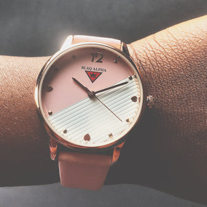 Swan  [ Pink & White Dial/Pink Genuine Leather Strap ]