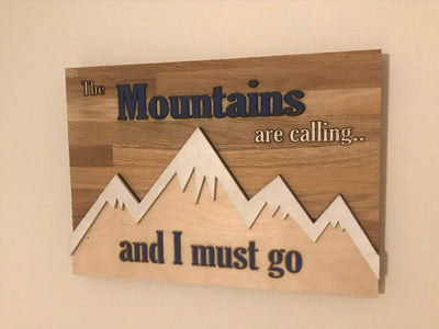 Mountains Wood Wall Art Engraved And Hand Painted The Mountains Are