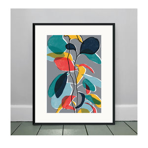 Baby Rubber Plant Grey A3 Art Print