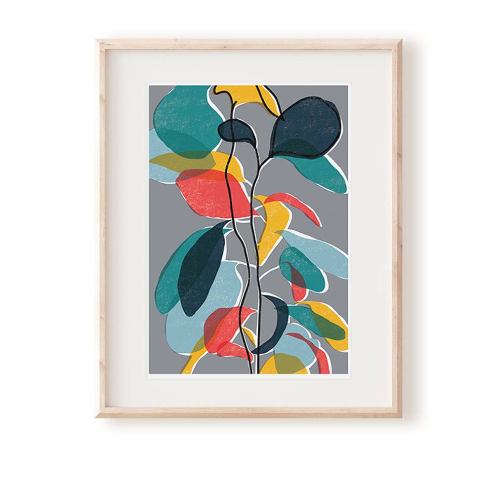 Baby Rubber Plant Grey Art Print