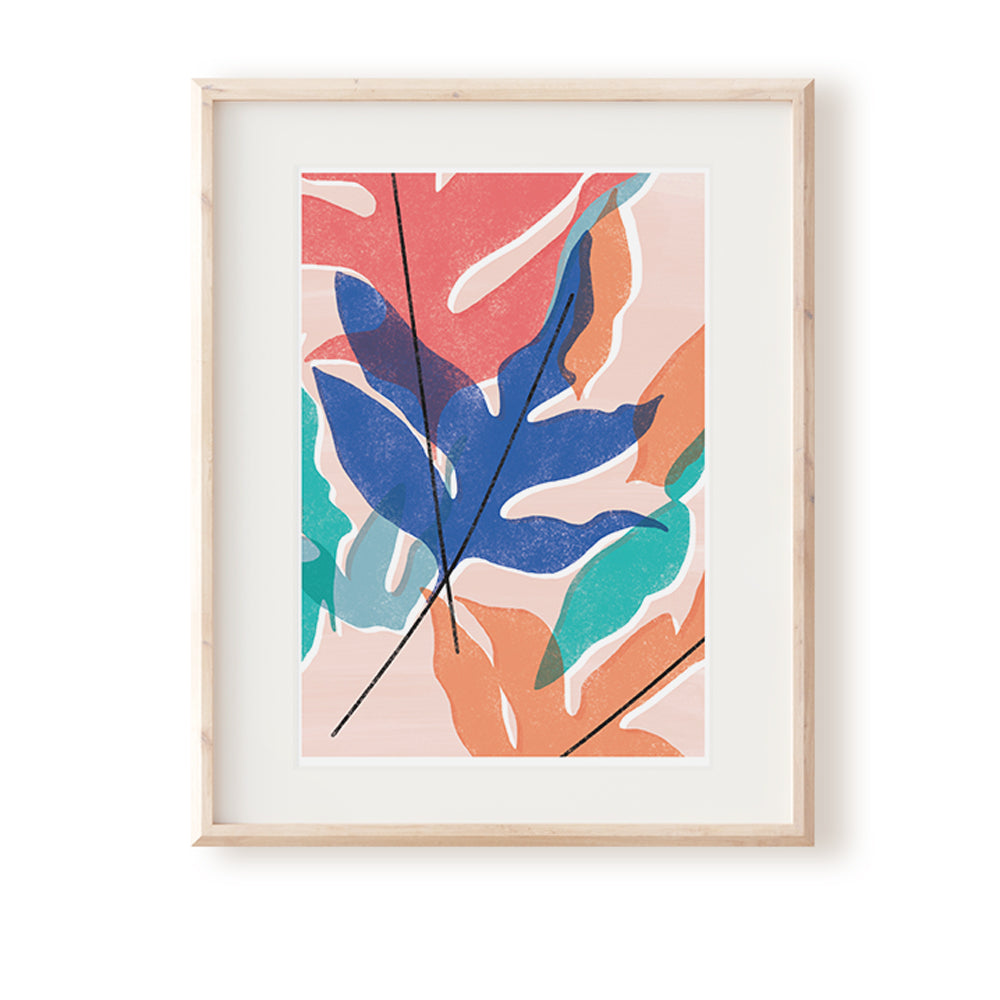 Blue Star Fern Pink Art Print