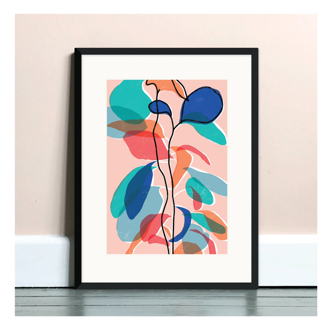 Baby Rubber Plant Pink A4 Art Print