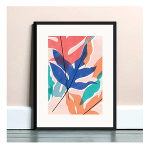 Blue Star Fern Pink A4 Art Print