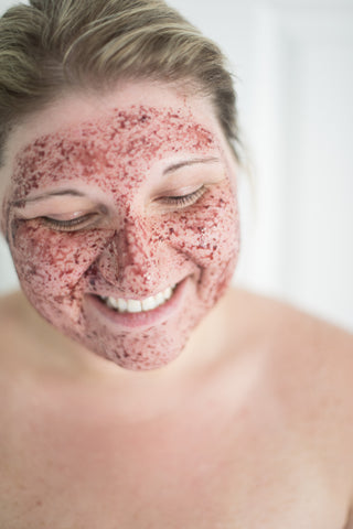 Girl masking with Berry Bright by Me Time Botanicals