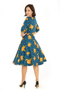 """Ruth"" Navy Orange Floral"