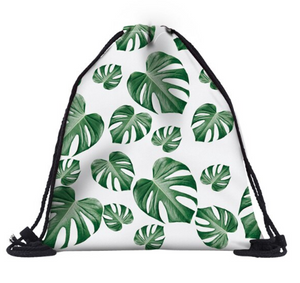 Green Leaves Drawstring Bag