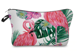Tropical Flamingo Makeup Bag - White
