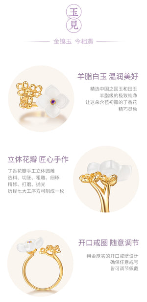 Gold inlaid jade ring palace palace culture joint model - RHEA LIGHT