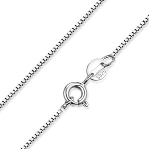S925 Sterling Silver Necklace Ingot Bar Singapore Box Chain Necklace - RHEA LIGHT