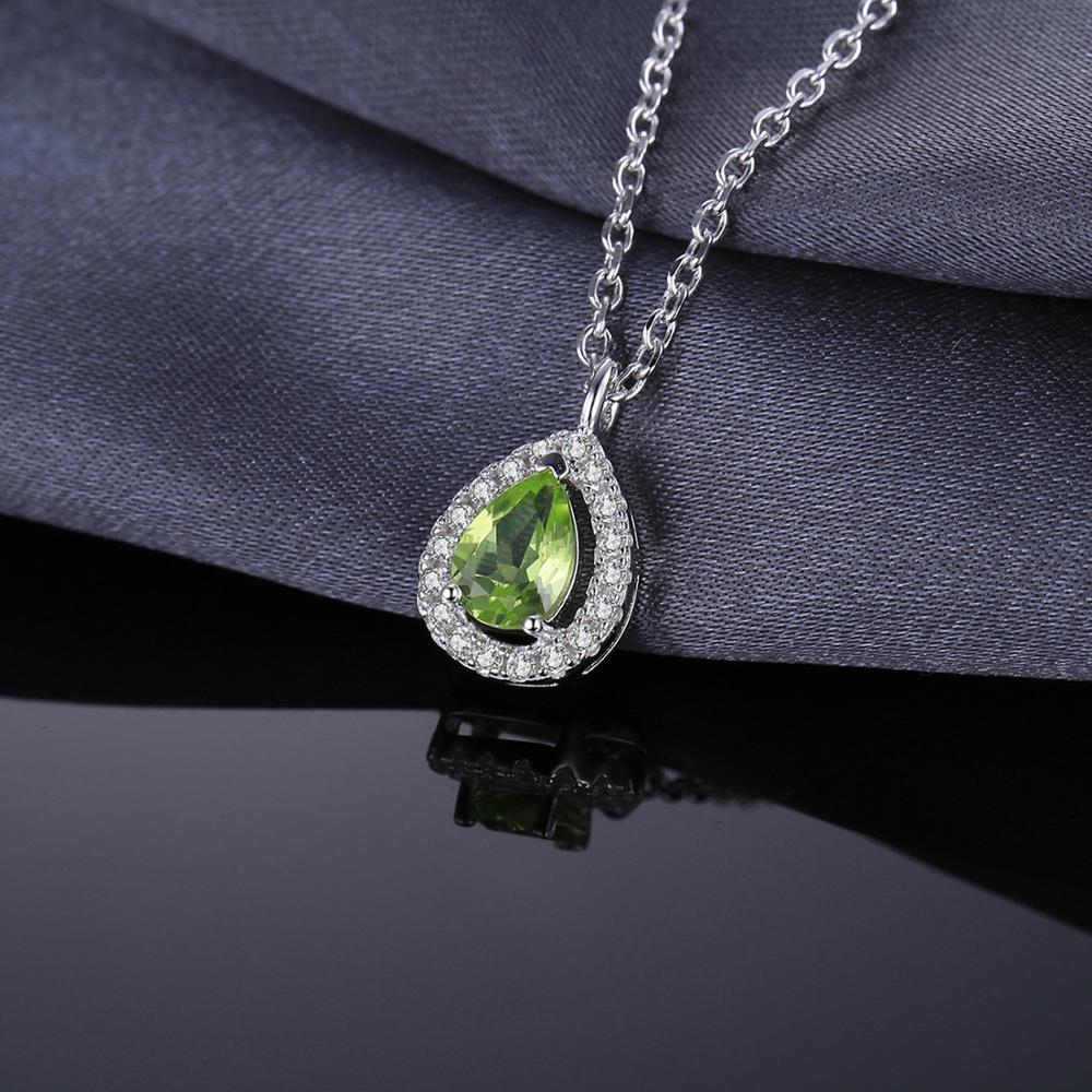 Pear Natural Peridot Pendant Necklace Birthstone - RHEA LIGHT