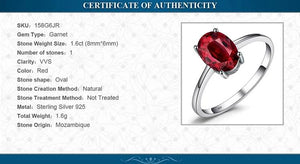Classic simple Genuine Garnet Ring Solitaire Wedding Ring - RHEA LIGHT
