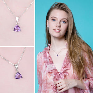 Natural Amethyst Pendant Necklace Gemstone Necklace - RHEA LIGHT