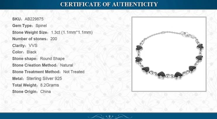 Heart Natural Black Spinel 925 Sterling Silver Bracelet - RHEA LIGHT