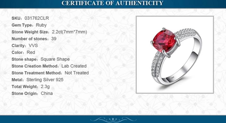 Red Ruby Ring Sterling Silver Engagement Ring - RHEA LIGHT