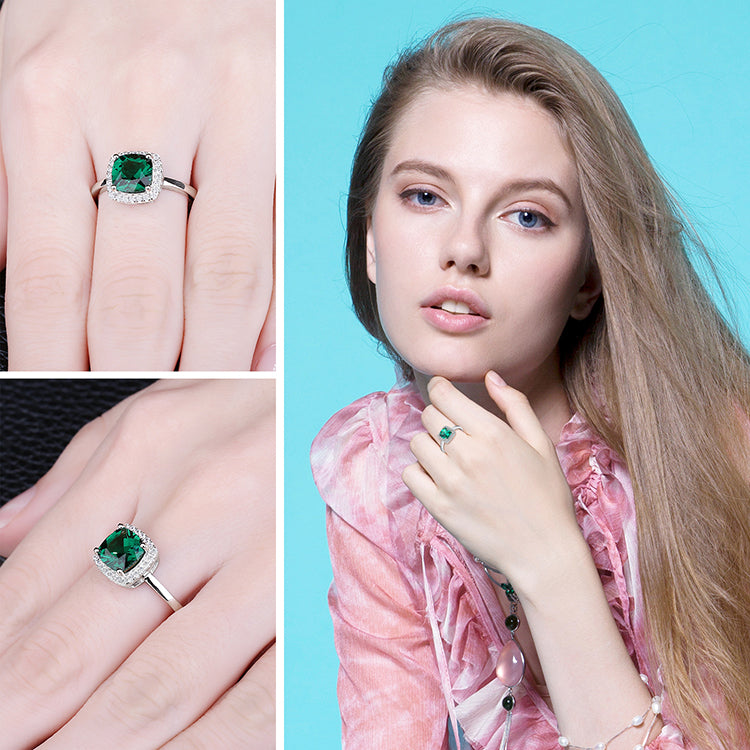 Simulated Nano Emerald Ring Halo Engagement Ring - RHEA LIGHT