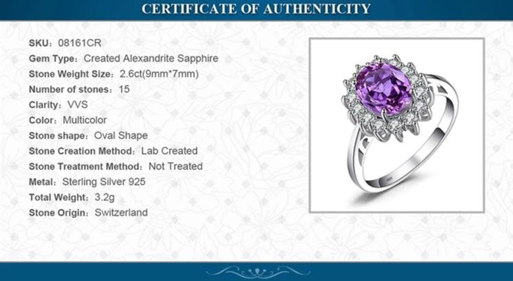 Princess Created Alexandrite Sapphire Ring Engagement Ring - RHEA LIGHT