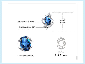 Genuine London Blue Topaz Stud Earrings - RHEA LIGHT
