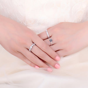 Fashion Wave Wedding Rings Stackable Anniversary Eternity Ring - RHEA LIGHT