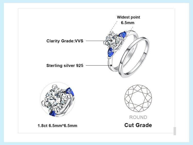 3 Stone Created Sapphire Wedding Rings Bridal Set - RHEA LIGHT