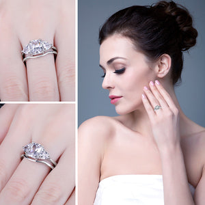 Emerald Cut Zircon Engagement Ring 925 Sterling Silver Bridal Sets - RHEA LIGHT