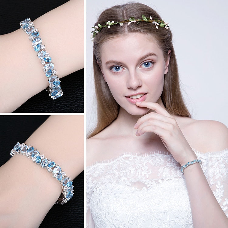 Natural London Blue Topaz Tennis Gemstones Bracelets - RHEA LIGHT