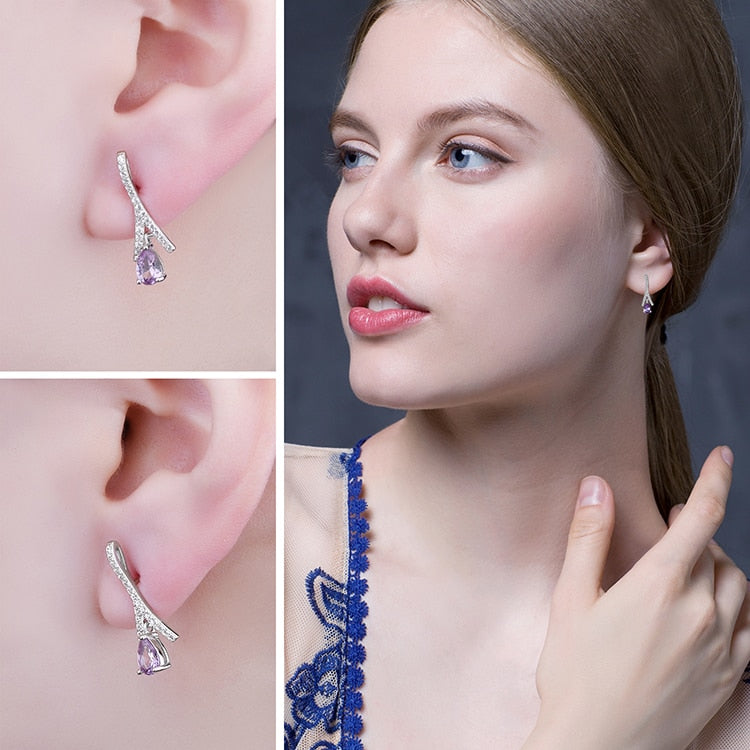 Fashion Alexandrite Sapphire Drop Earrings - RHEA LIGHT