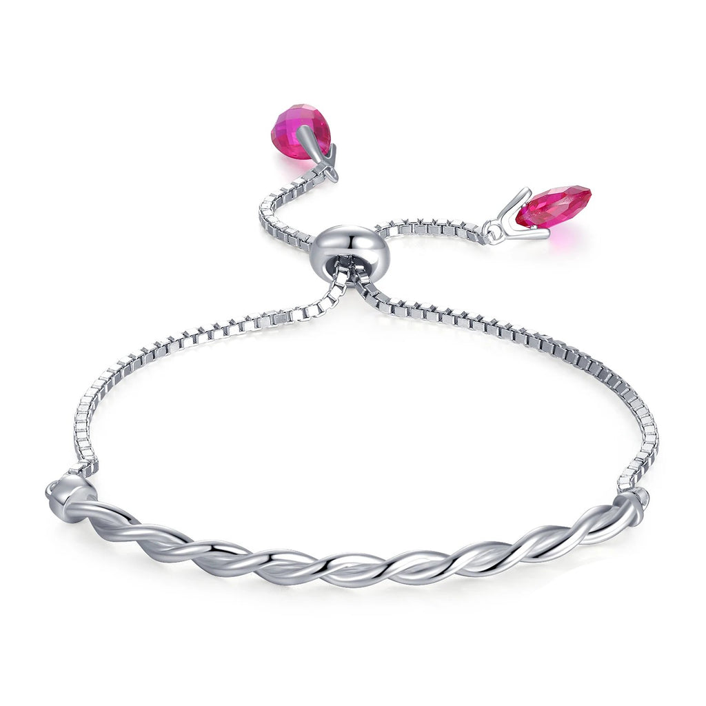 Purple Ruby Twisted Braided Adjustable Bracelet - RHEA LIGHT