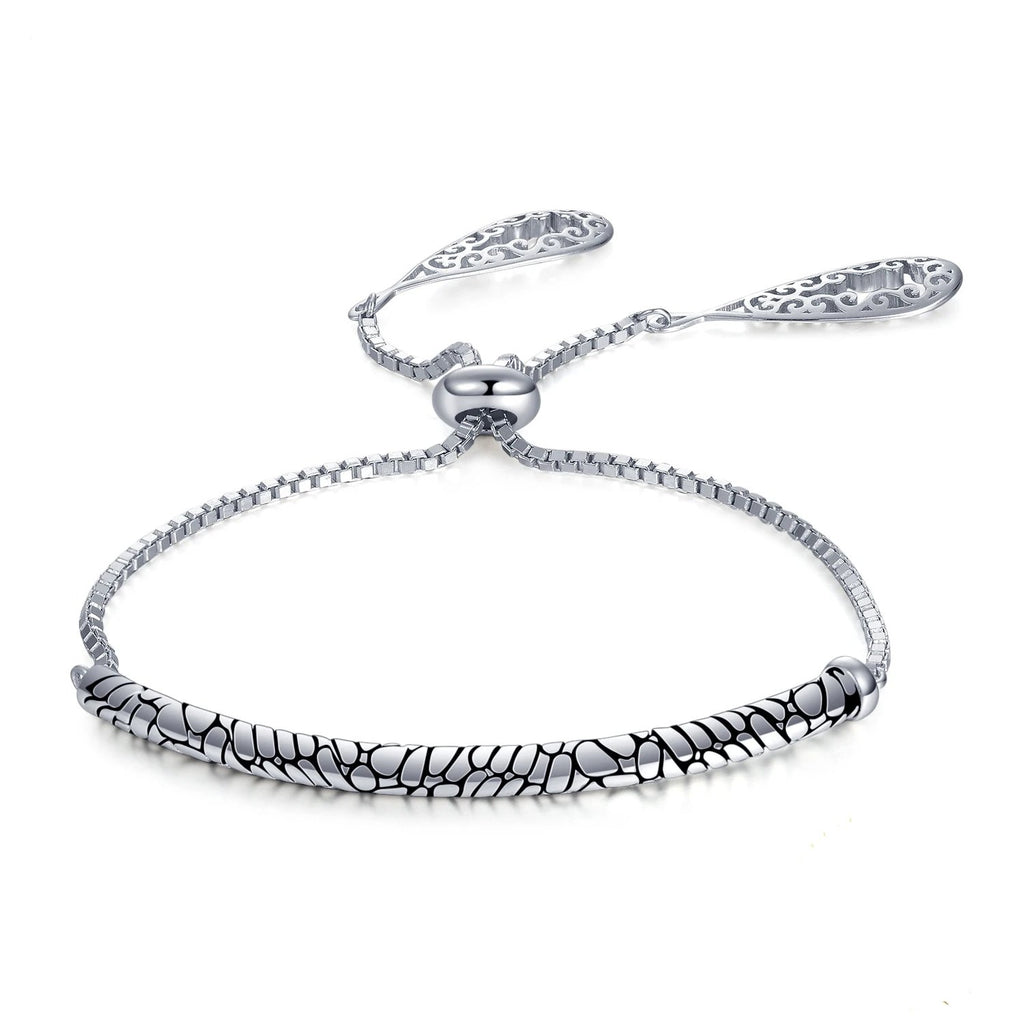 Auspicious Cloud Engraved Black Enamel Adjustable Bracelet - RHEA LIGHT
