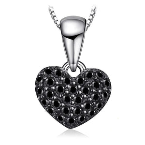 Heart Natural Black Spinel Pendant Necklace - RHEA LIGHT