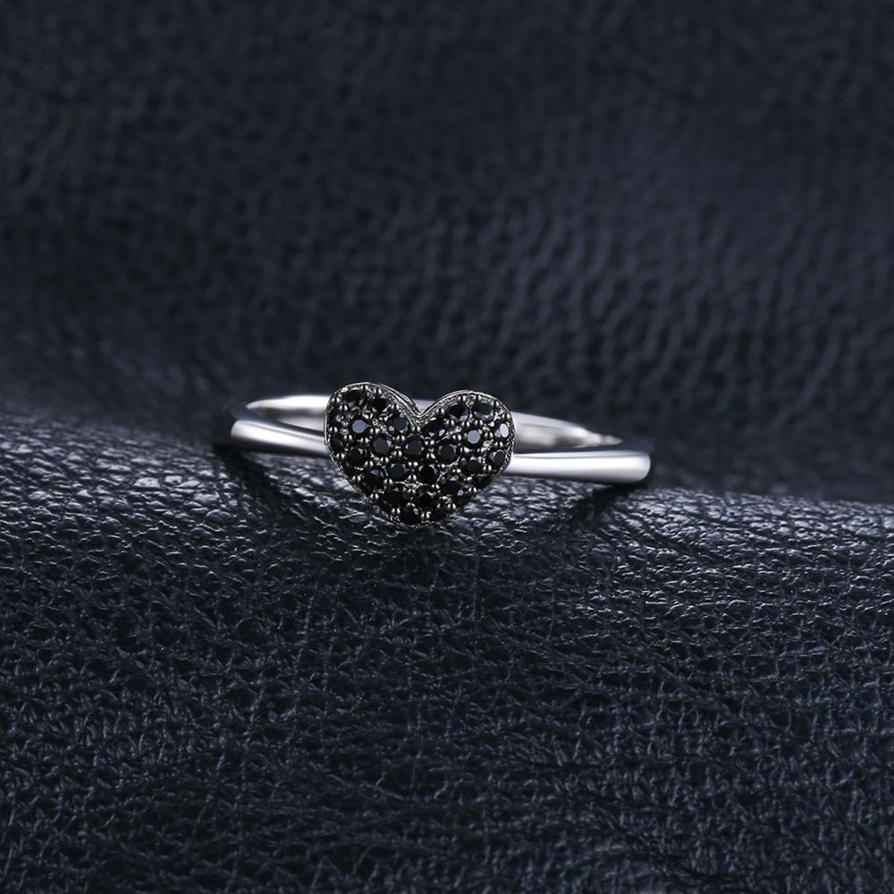 Heart Natural Black Spinel Ring Engagement Ring - RHEA LIGHT