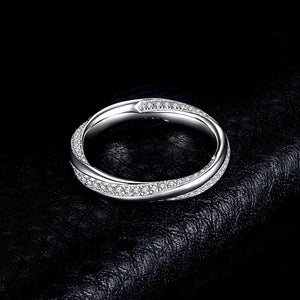 Cross Design Wedding Rings Stackable Anniversary Eternity Band - RHEA LIGHT