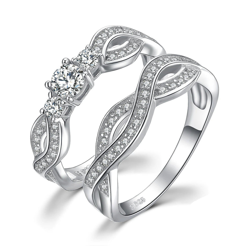 Infinity CZ Wedding Rings Bands Bridal Sets Silver 925 Jewelry - RHEA LIGHT