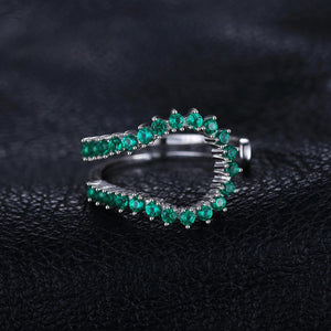 Simulated Nano Emerald Ring Stackable Rings Band - RHEA LIGHT