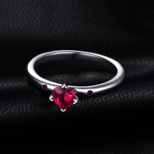 Red Murano Glass Ring Stackable Ring Band - RHEA LIGHT