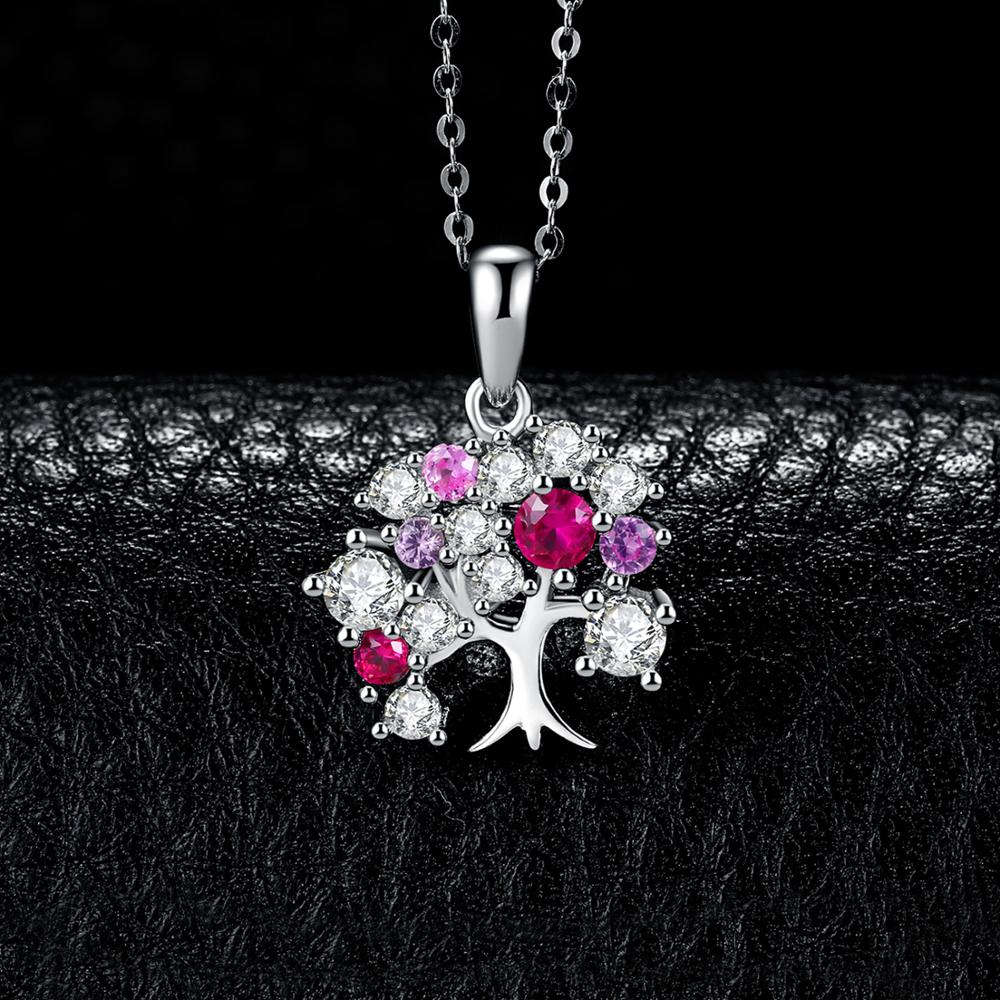 Tree of Life Created Ruby Pendant Necklace Gemstones Necklace - RHEA LIGHT