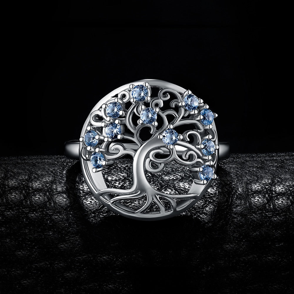 Tree Of Life Blue Spinel Ring